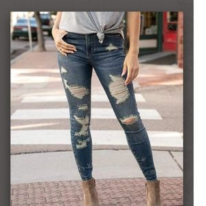 Grace and Lace Distressed Waist Shaper Jeggings